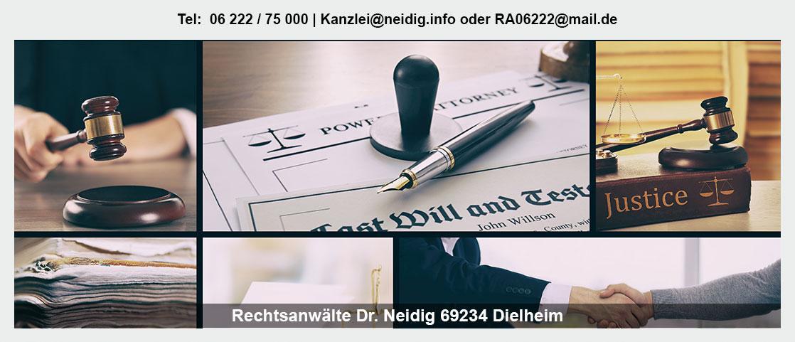 Erbrecht in der Nähe von Hüffenhardt - Kanzlei Dr. Jürgen Neidig: Familienrecht, Verteilung Erbe, Patientenverfügung